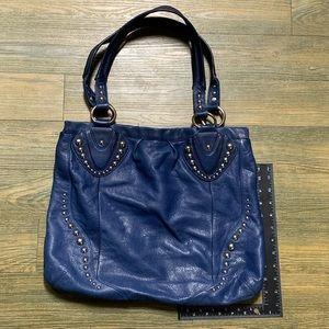 B Makowsky Blue Silver Stud Large Tote Handbag